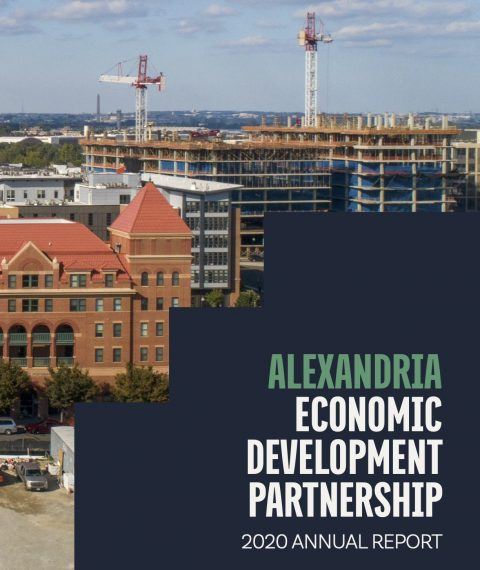 Annual Report cover showing growing development in Potomac Yard